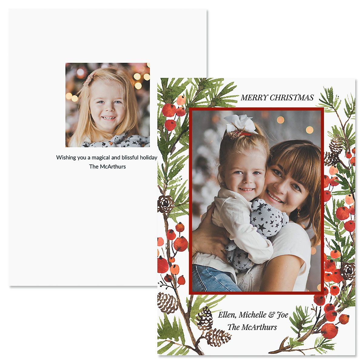 Holiday Berry Custom Photo Christmas Cards