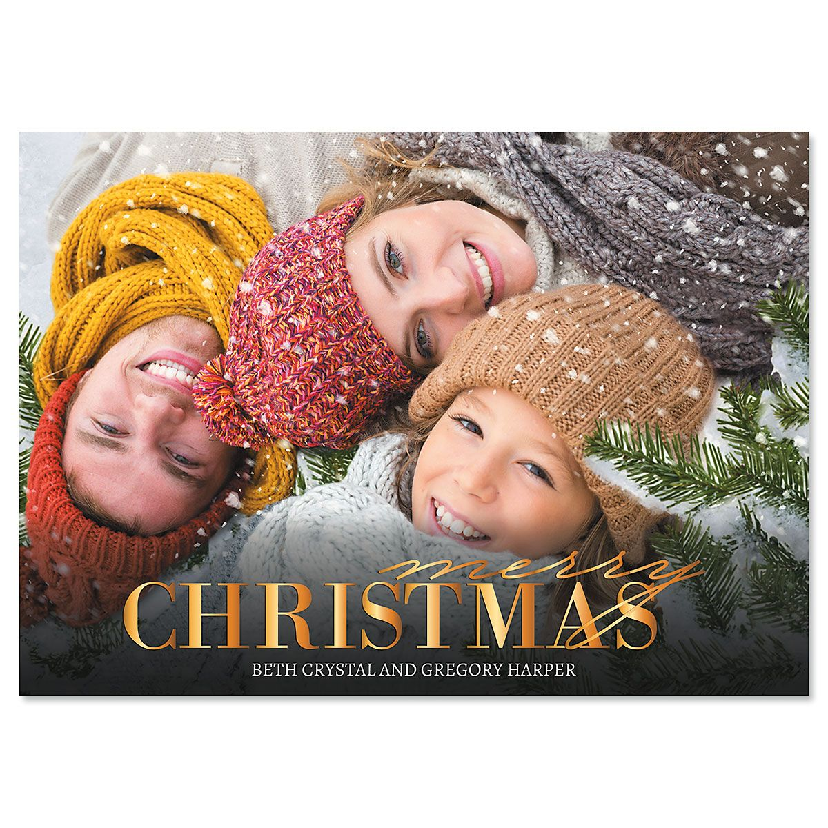 Merry Gold Custom Photo Christmas Cards