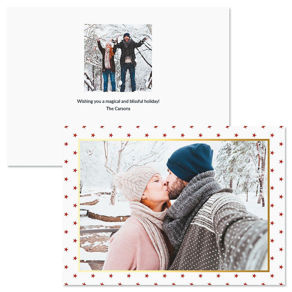 Red Stars Custom Photo Christmas Cards