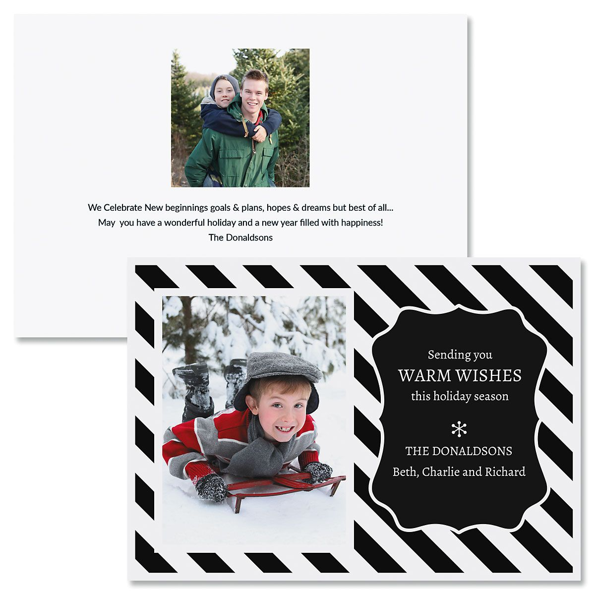 Black and White Stripe Custom Photo Christmas Cards