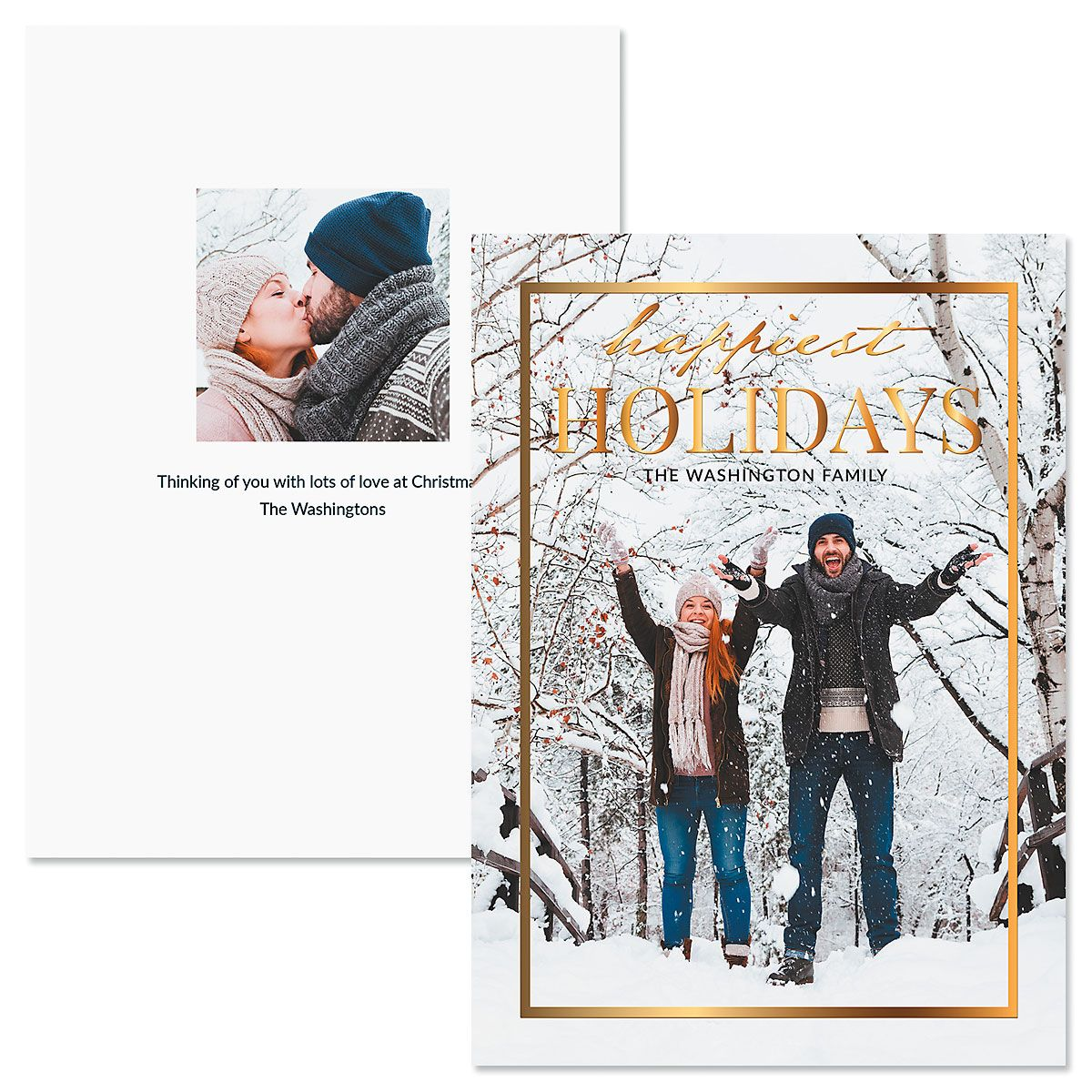 Gold Frame Vertical Custom Photo Christmas Cards
