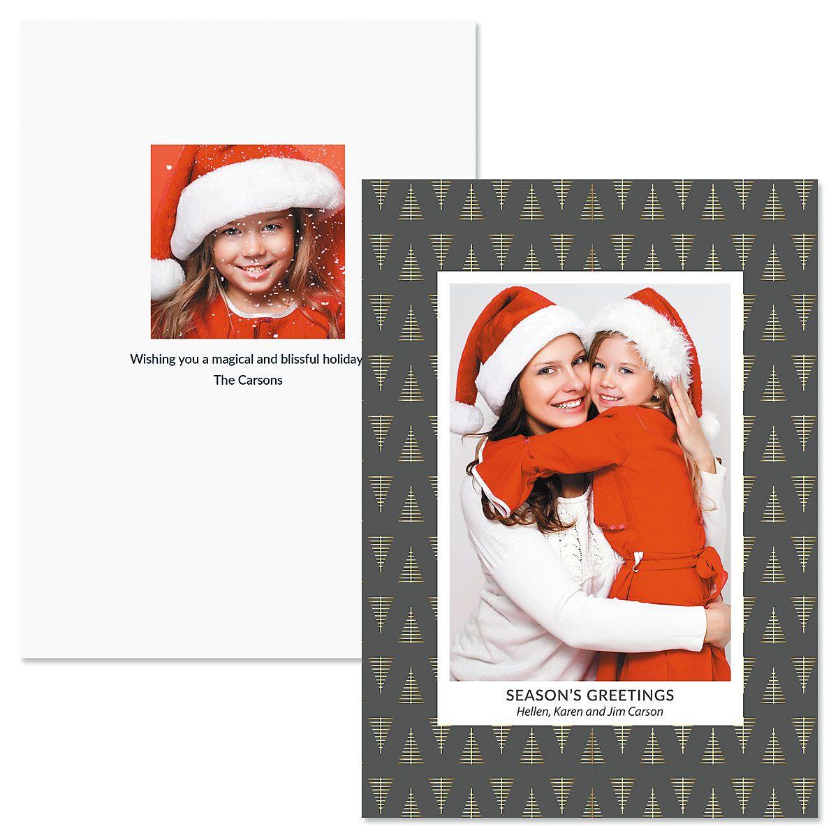 Modern Tree Custom Photo Christmas Cards