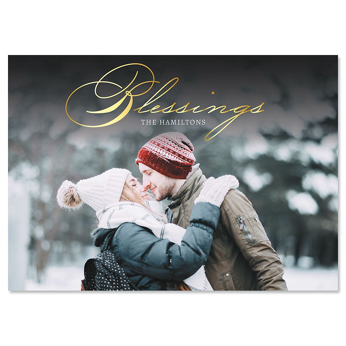 Blessings Horizontal Custom Photo Christmas Cards