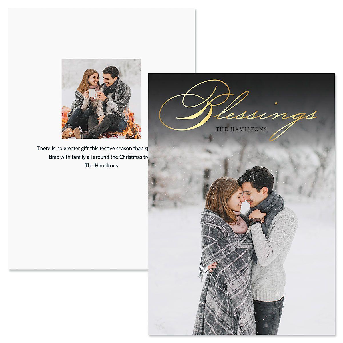 Blessings Vertical Custom Photo Christmas Cards