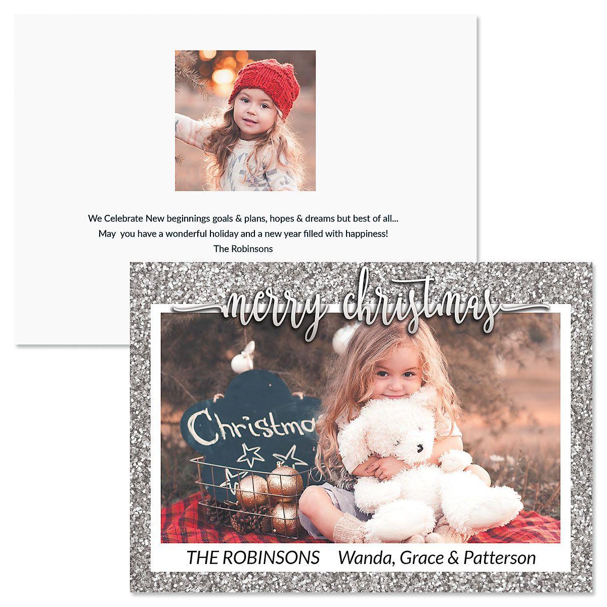 Silver Glitter Custom Photo Christmas Cards