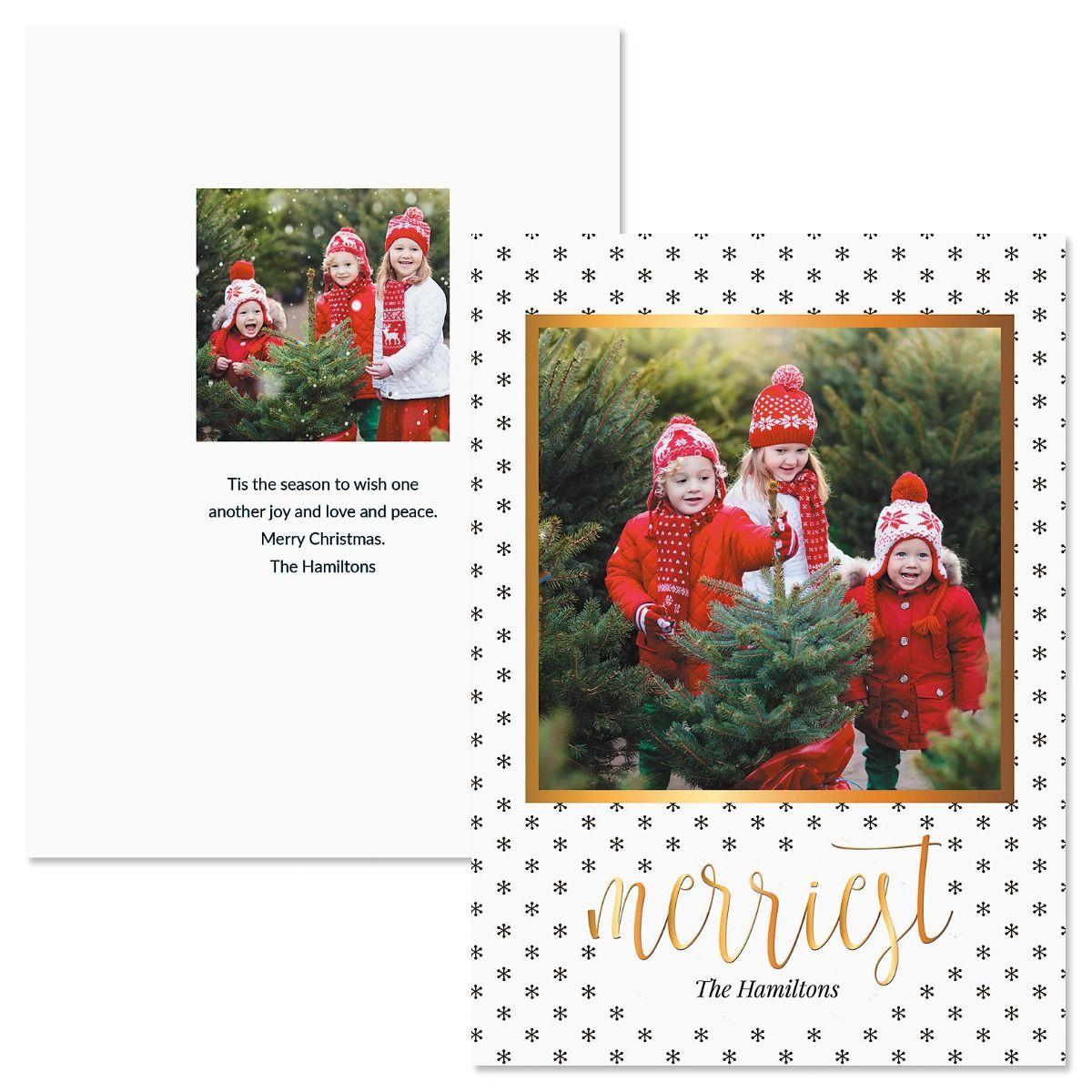 Black Snowflakes Custom Photo Christmas Cards