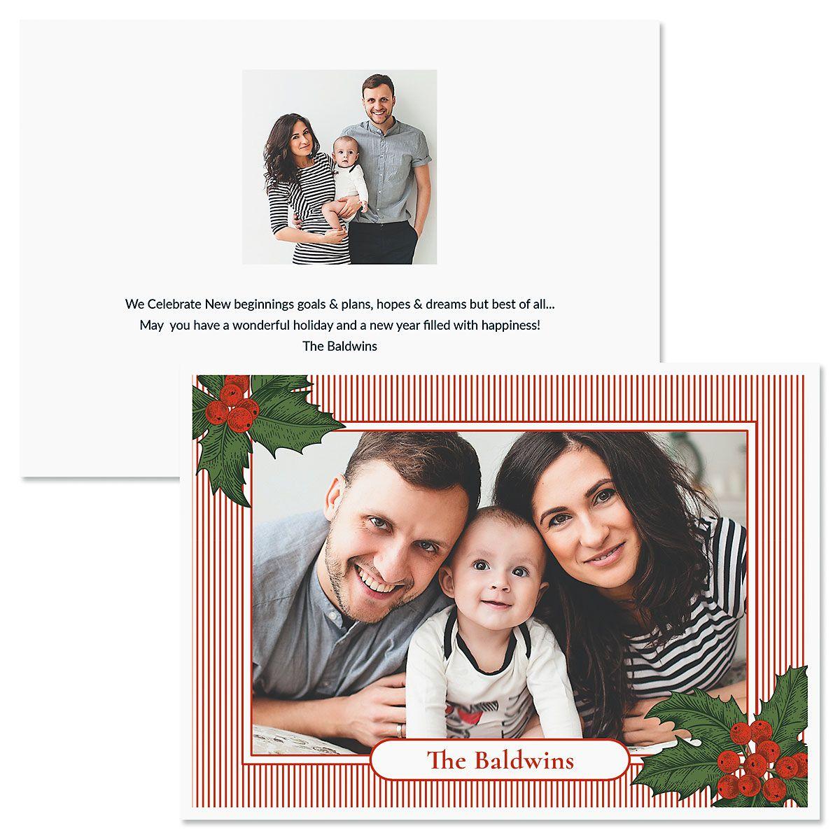 Pinstripe Custom Photo Christmas Cards