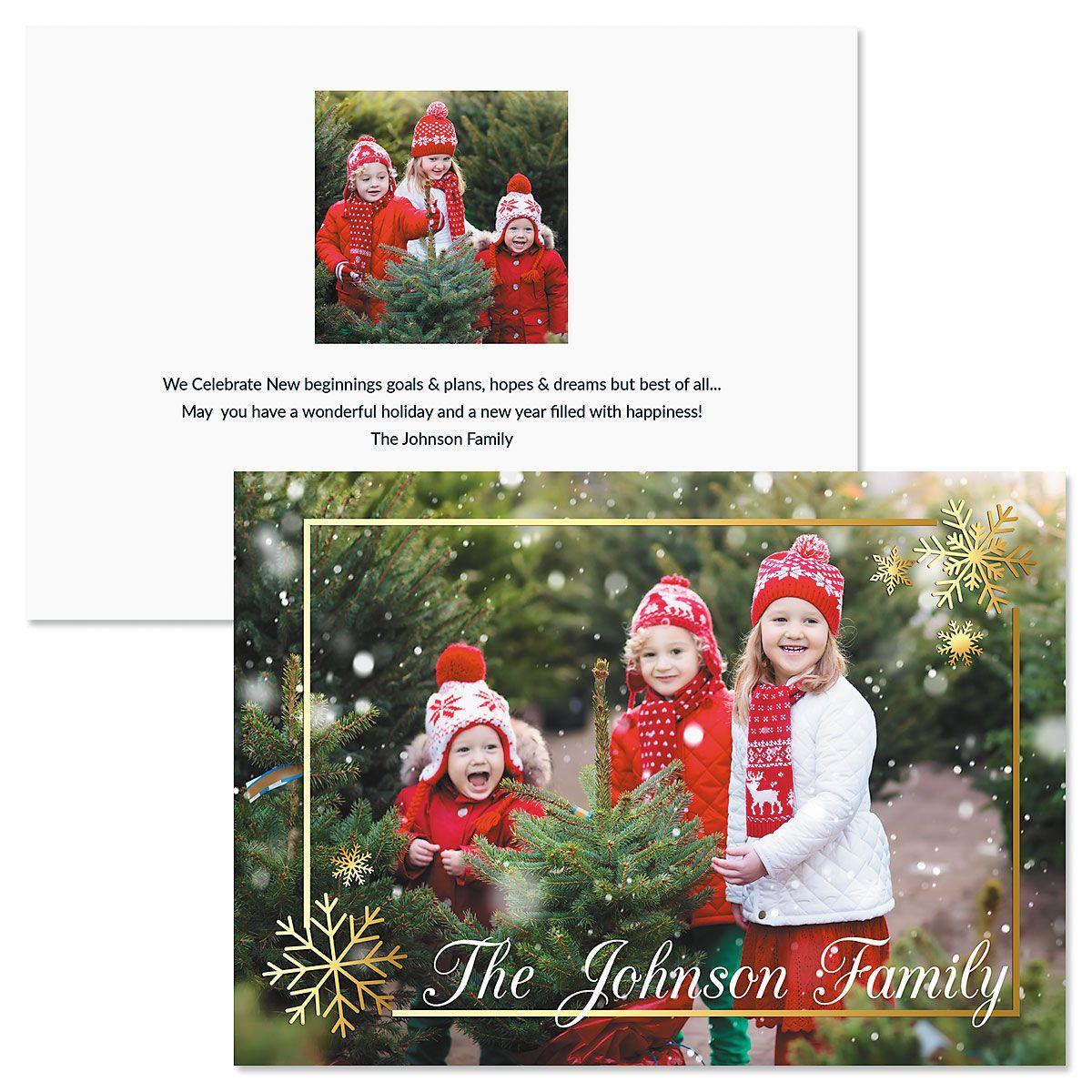 Golden Snowflake Horizontal Custom Photo Christmas Cards
