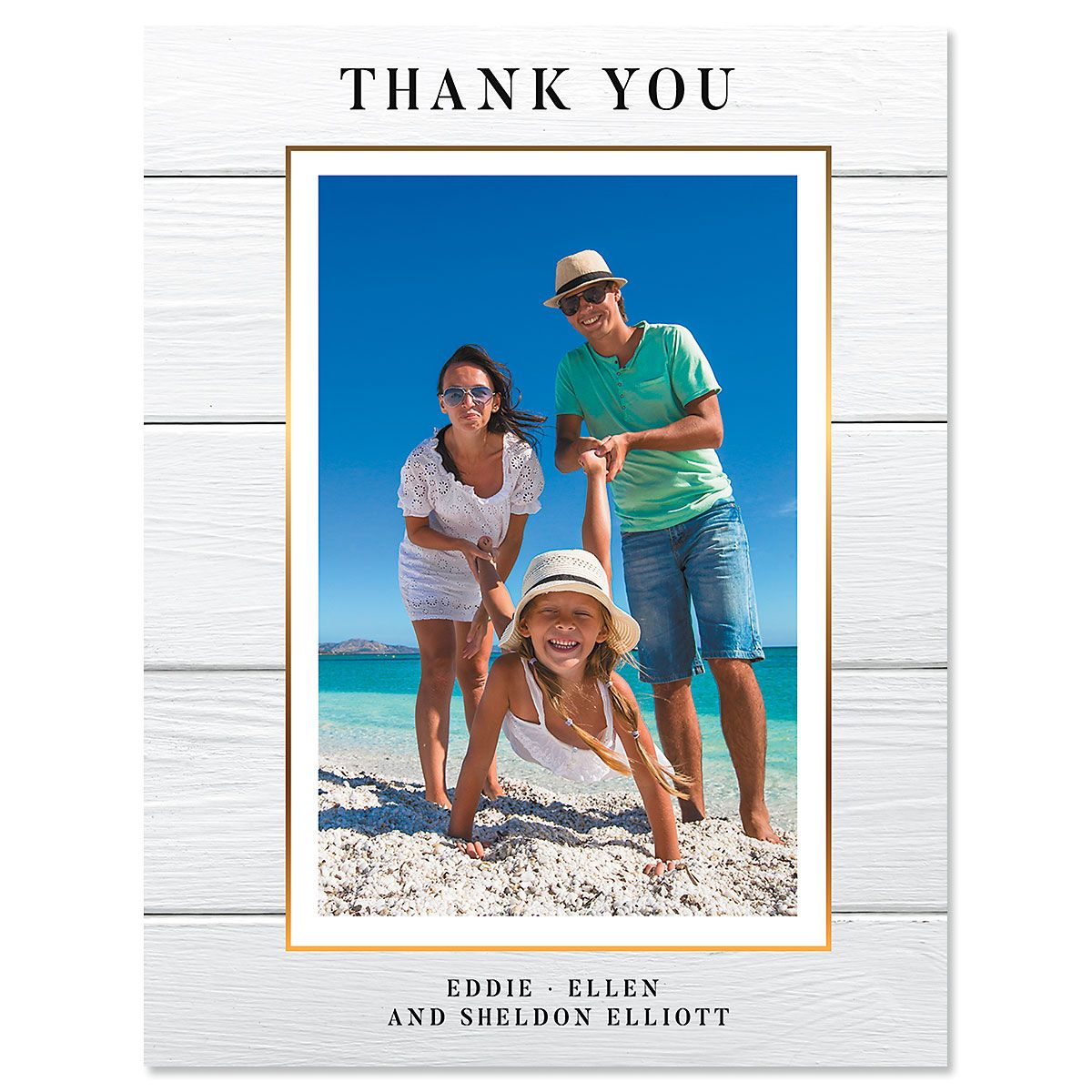 Custom Vertical Shiplap Thank You Photo Note Cards