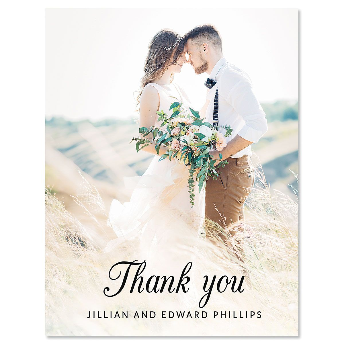 Custom Vertical Script Thank You Photo Note Cards