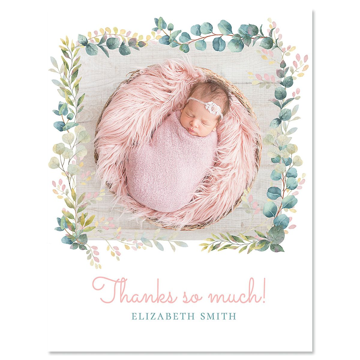 Custom Vertical Botanical Thank You Photo Note Cards