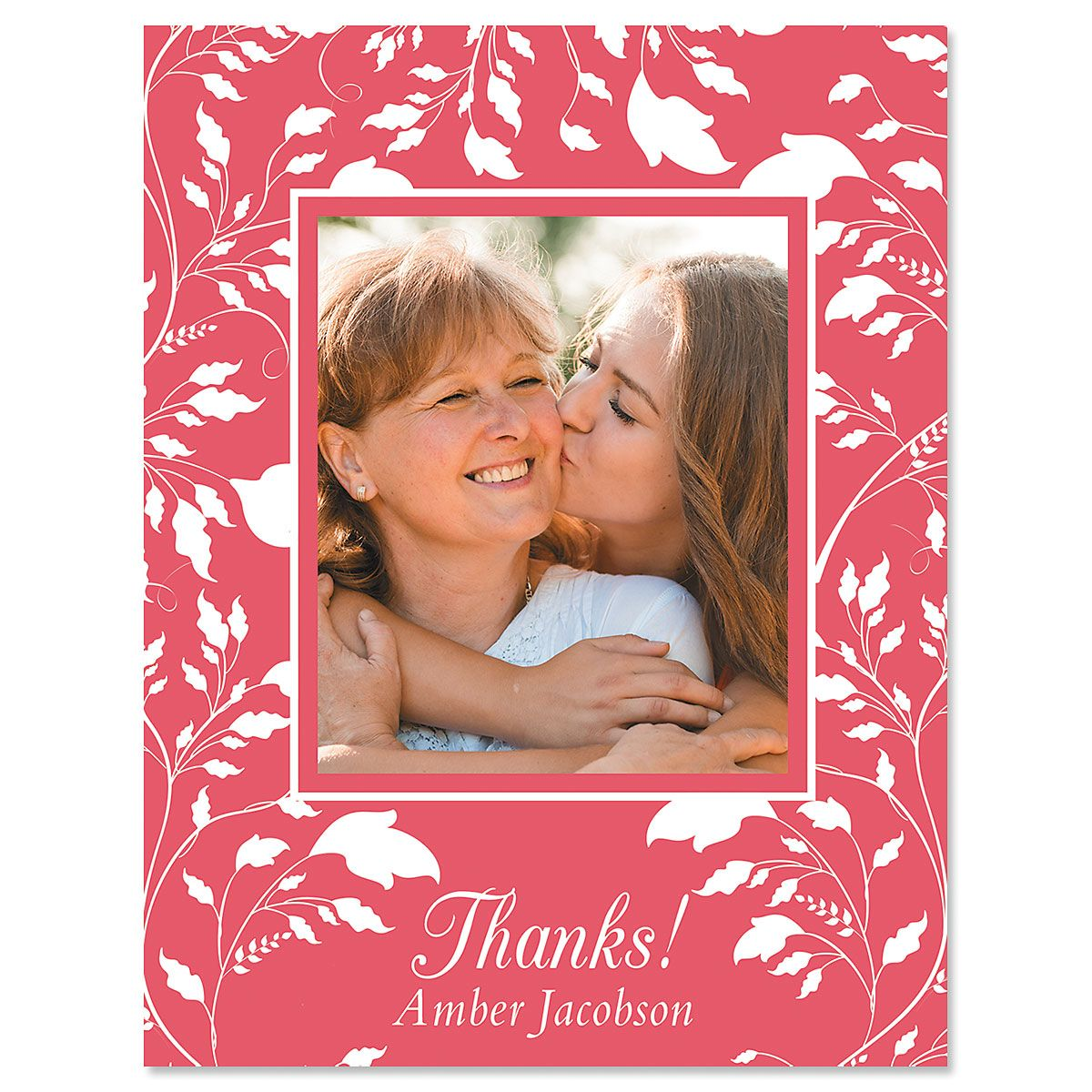 Custom Vertical Floral Thank You Photo Note Cards