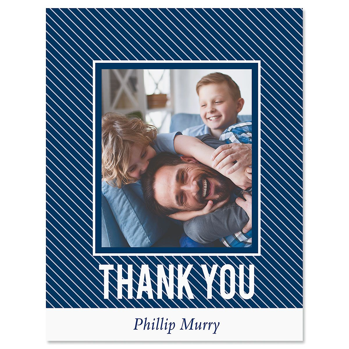 Custom Vertical Stripe Thank You Photo Note Cards