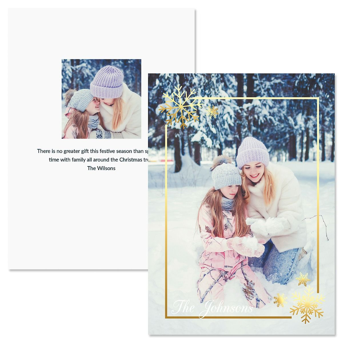Golden Snowflake Vertical Custom Photo Christmas Cards