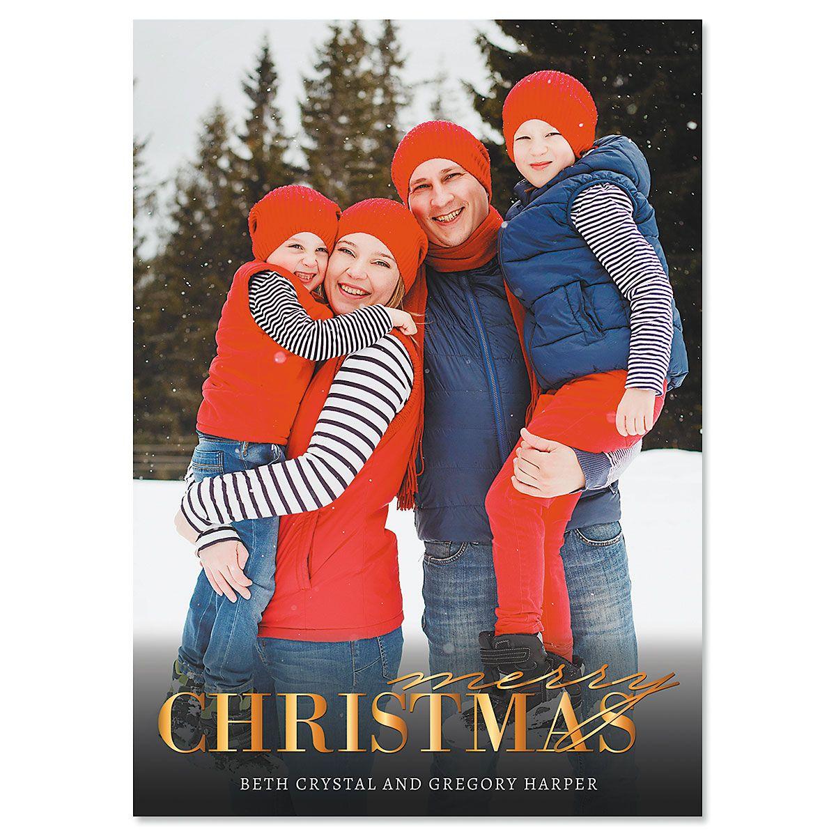 Gold Merry Custom Photo Christmas Cards