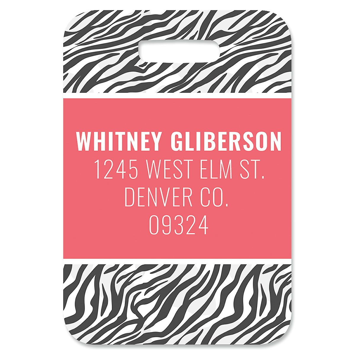 Zebra Print Custom Luggage Tag