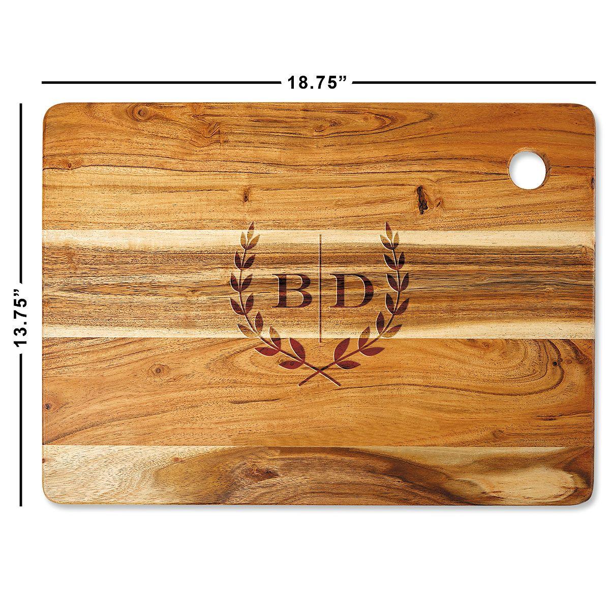 Acacia Laural Initials Custom Cutting Board