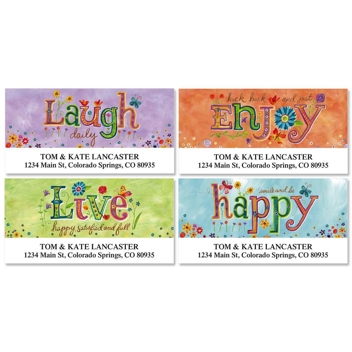 Happy Thoughts Deluxe Return Address Labels  (4 Designs)