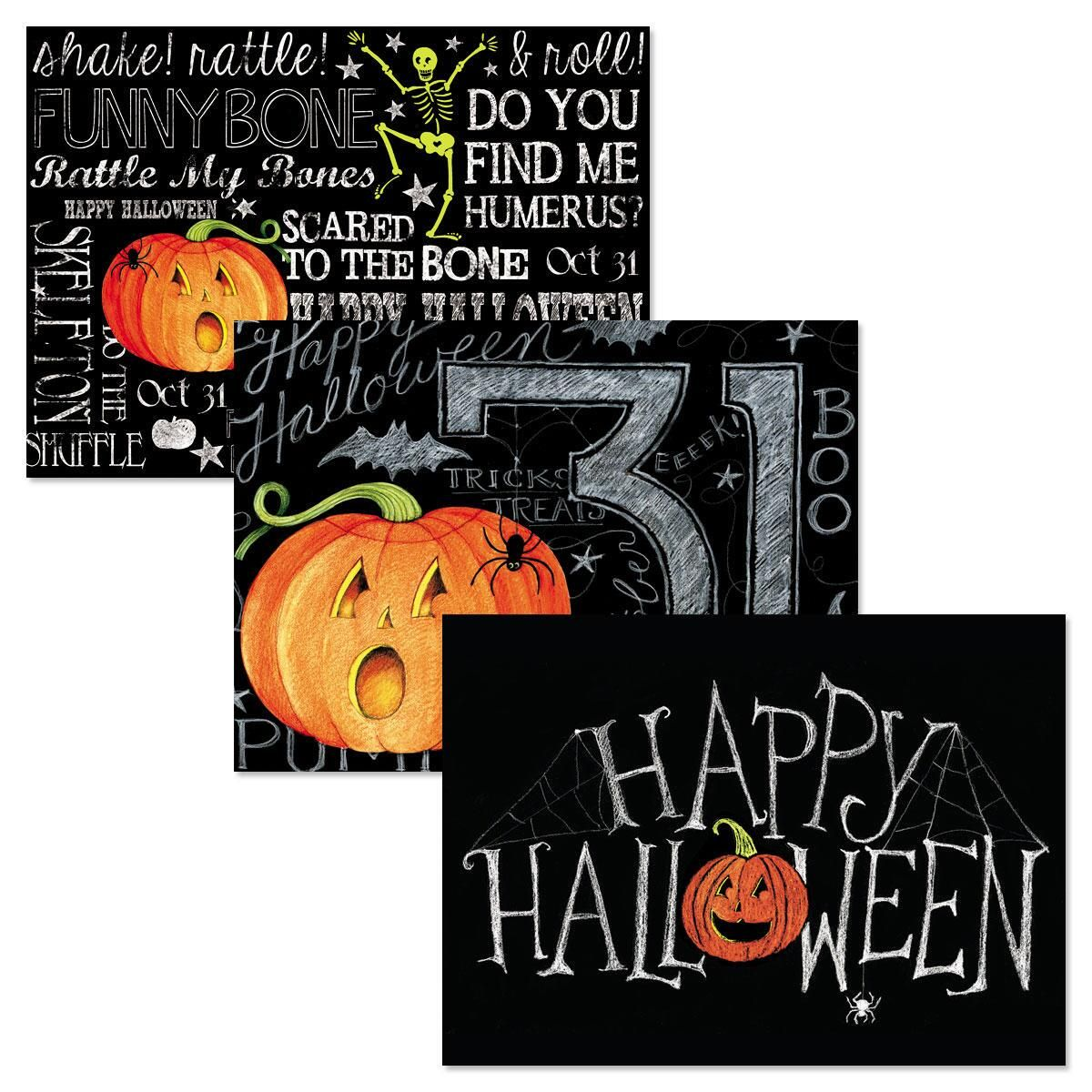 chalked up halloween cards | colorful images