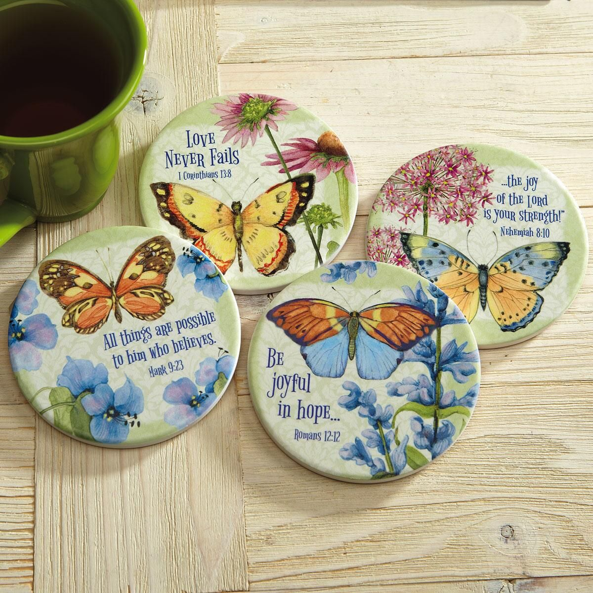 Floral Coasters with Scripture