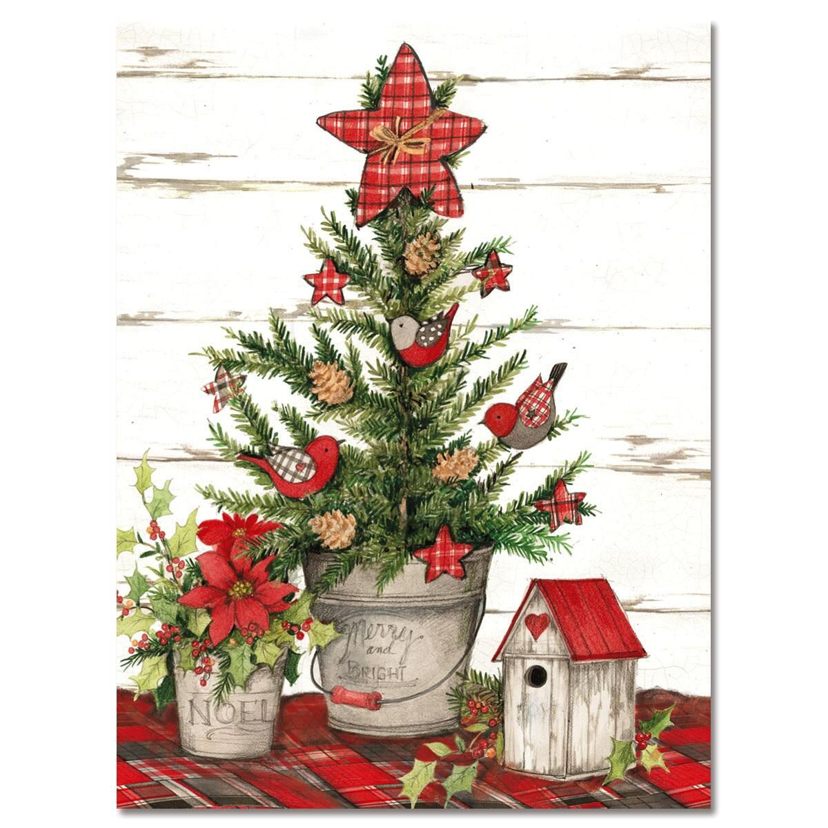 Red Plaid Tree Holiday Note Cards