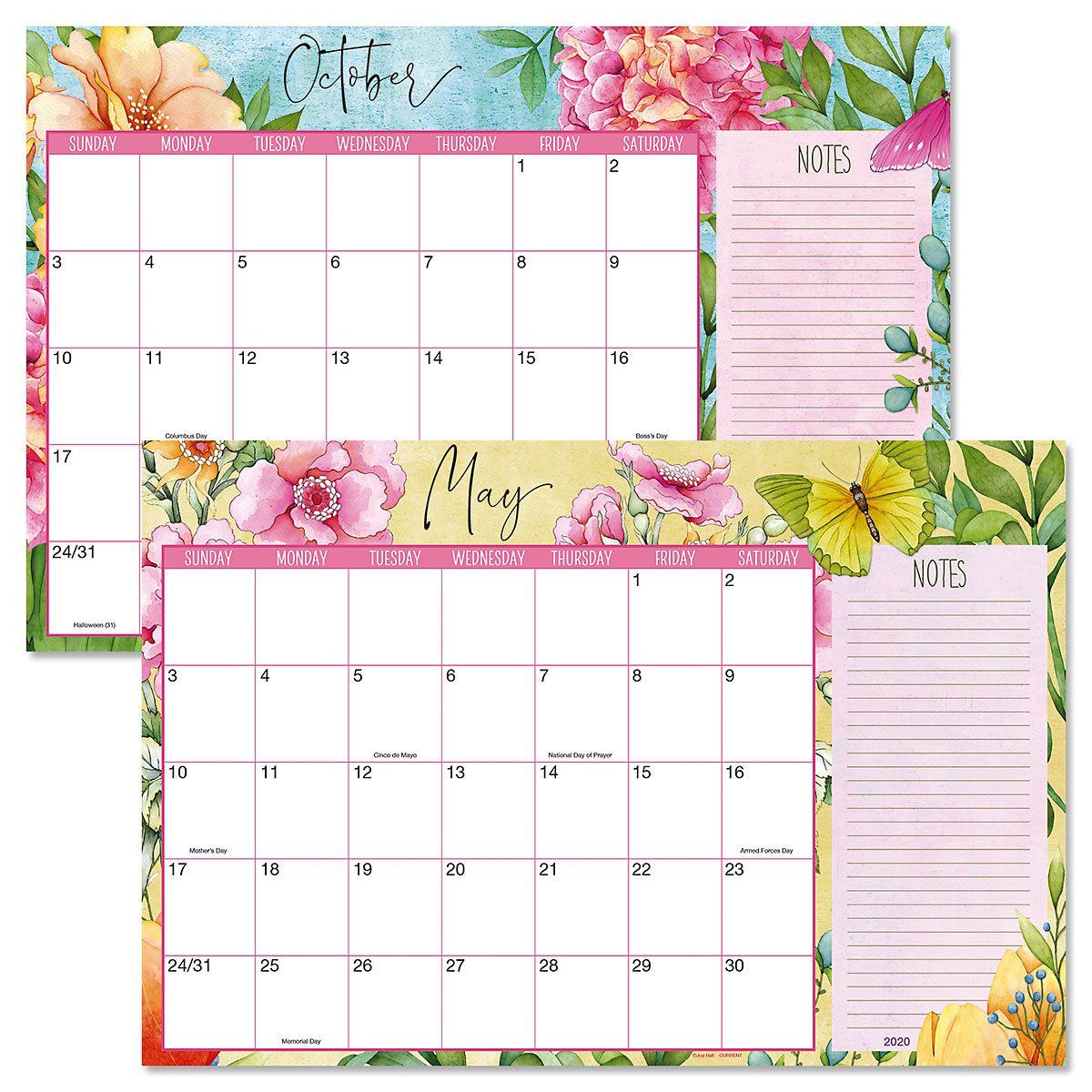 2020-2021 Watercolor Garden Calendar Pad