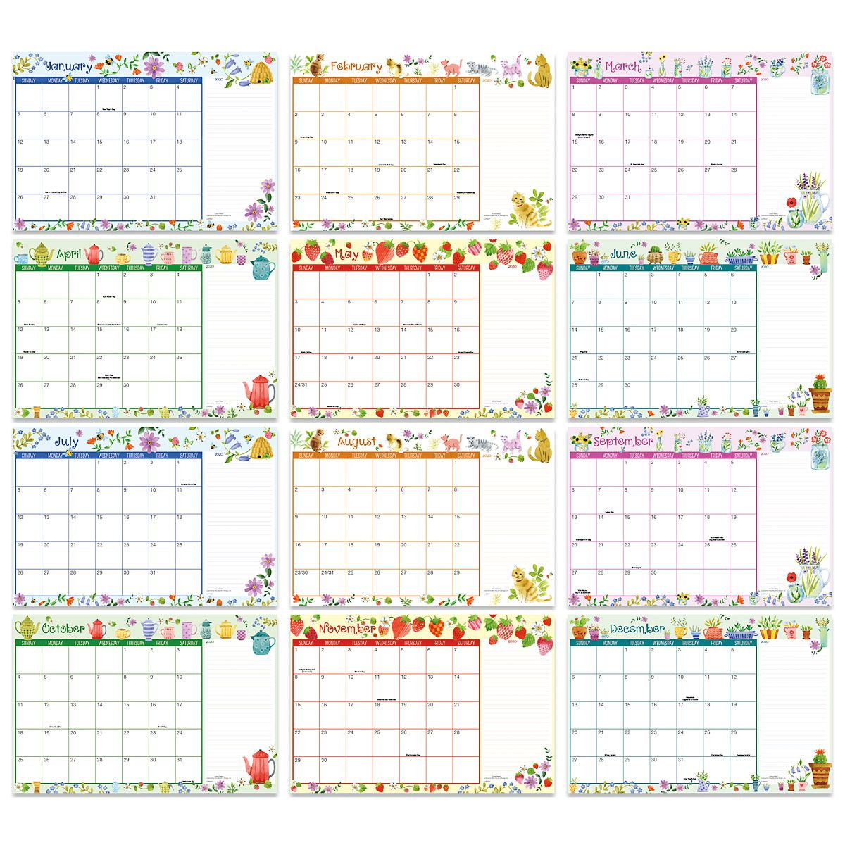 2020-2021 Whimsey Borders Calendar Pad | Colorful Images