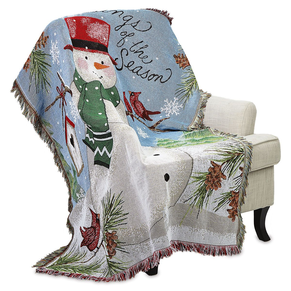 Farmhouse Snowman Throw