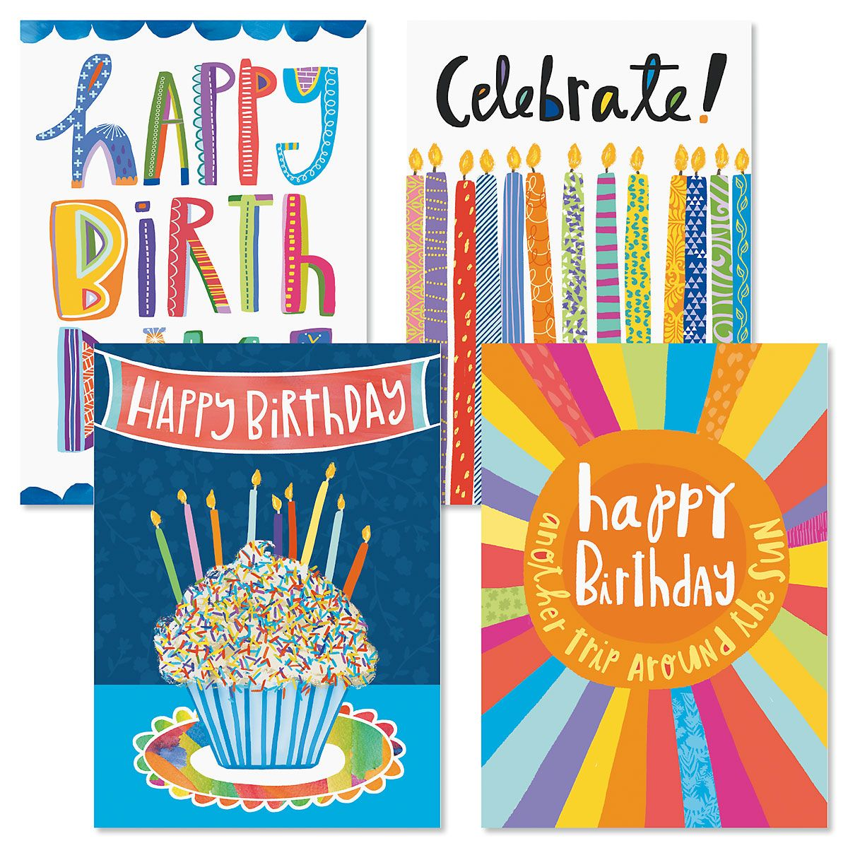 Bright Fun Birthday Greeting Cards and Seals