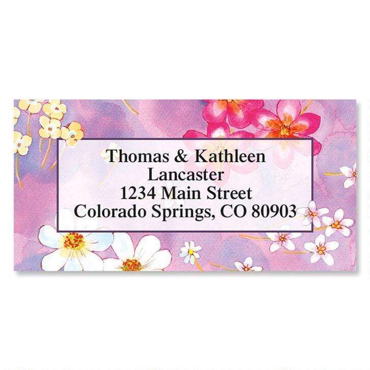 Pretty Petals Border Address Labels