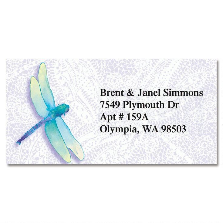 Dragonfly Lace Border Return Address Labels