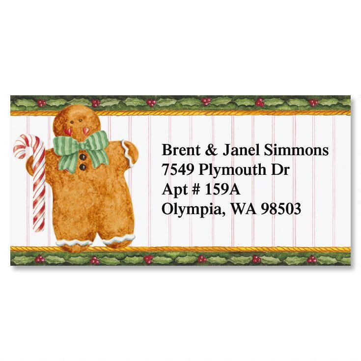 Holiday Gingerbread Border Return Address Labels