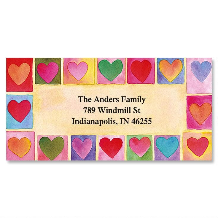 Hearts on Parade  Border Return Address Labels