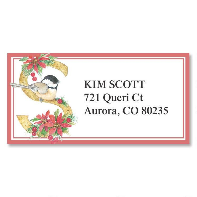 Christmas Initial Border Address Labels