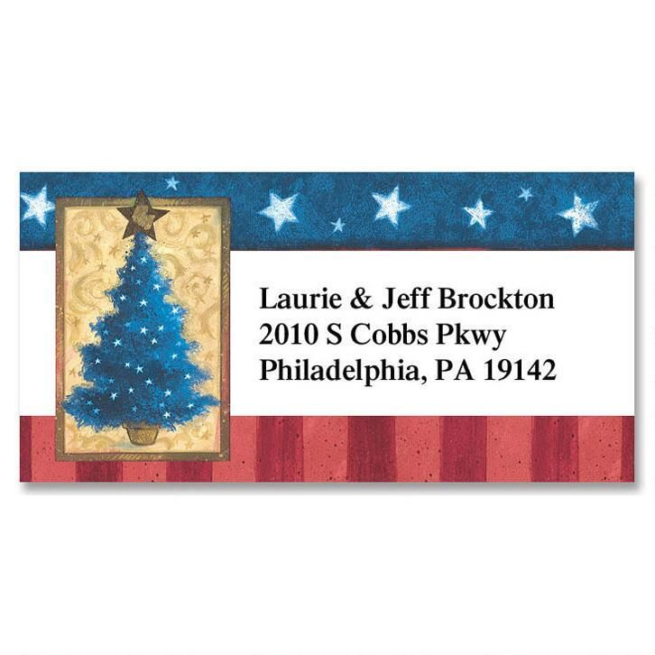 Holiday Stars & Stripes Border Return Address Labels