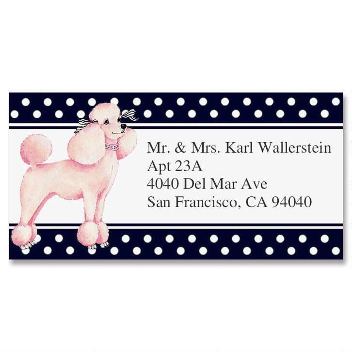 Pink Poodle Border Return Address Labels