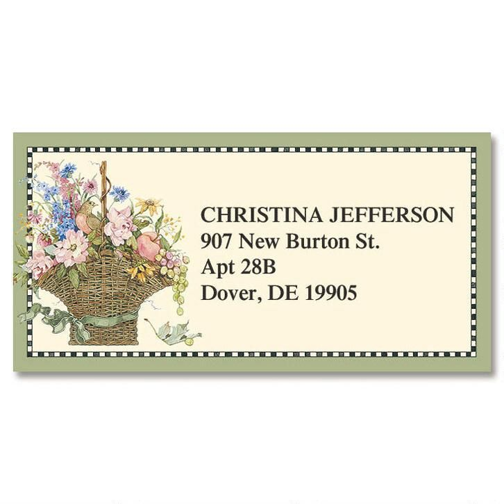 Floral Basket Border Address Labels