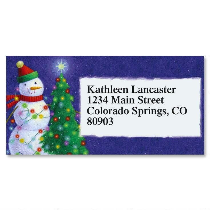 Holiday Lights Border Address Labels