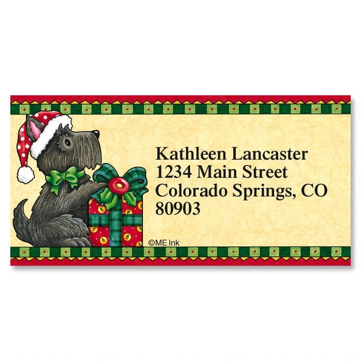 Holiday Scottie Border Return Address Labels