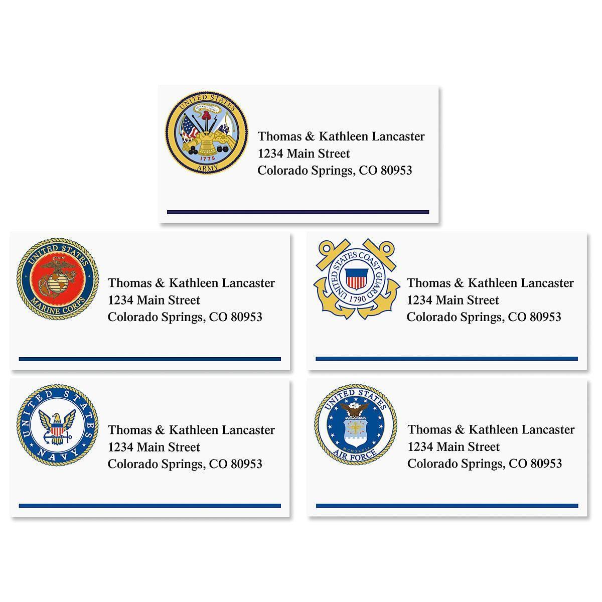 Military Emblem Border Address Labels