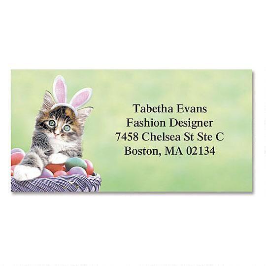 Easter Kitten Border Return Address Labels