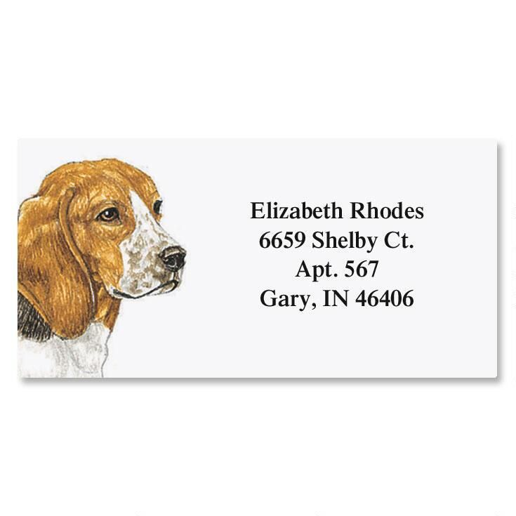 Dog Breed Pet Portraits by Don Eberhart Border Address Labels - 35 choices