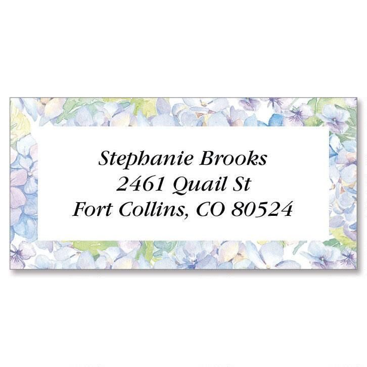 Painted Hydrangia Border Return Address Labels