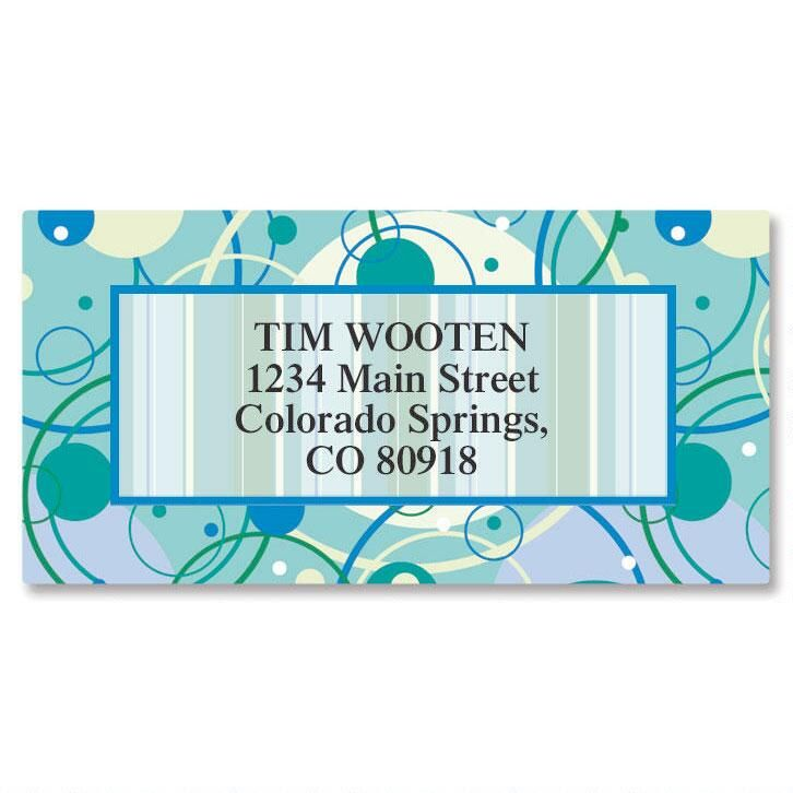 Circles & Stripes  Border Return Address Labels