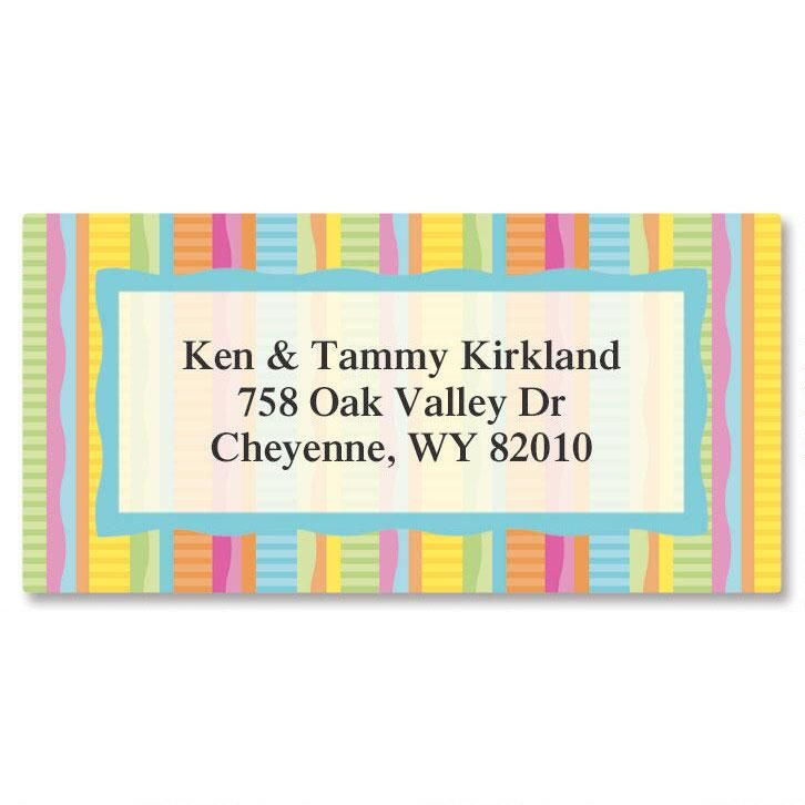 Bright Stripe  Border Address Labels