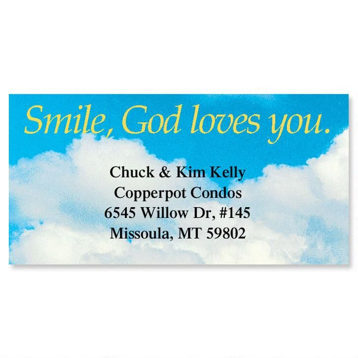 Smile, God Loves You Border Return Address Labels
