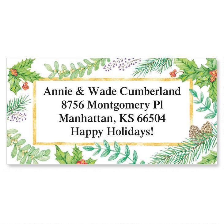 Christmas Greenery Border Return Address Labels