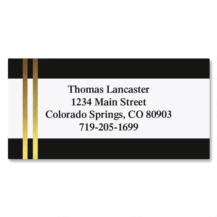 Black and Double Gold Foil Border Address Labels
