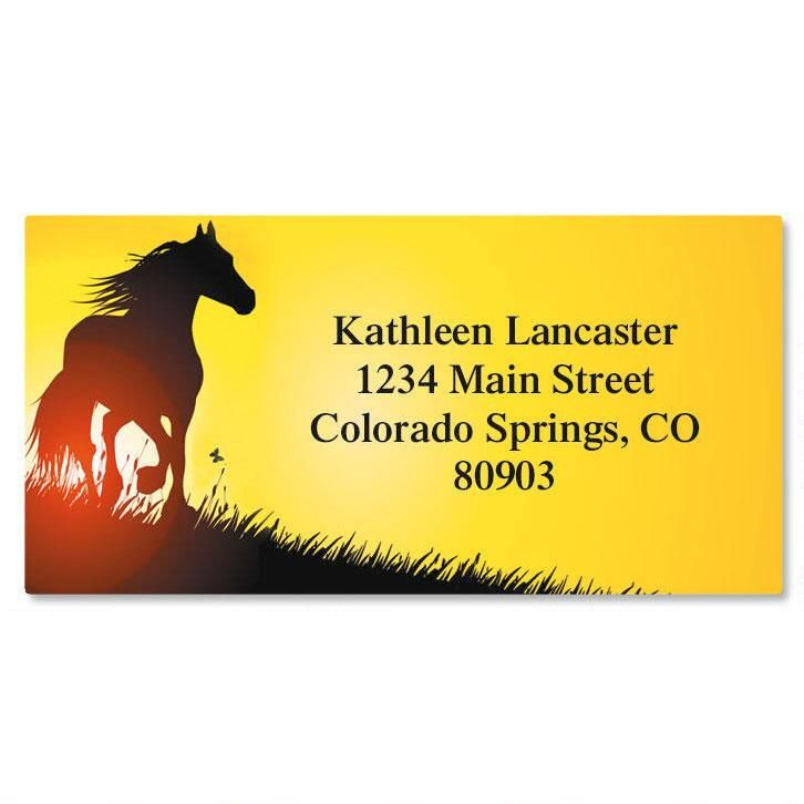 Horse Silhouette  Border Return Address Labels