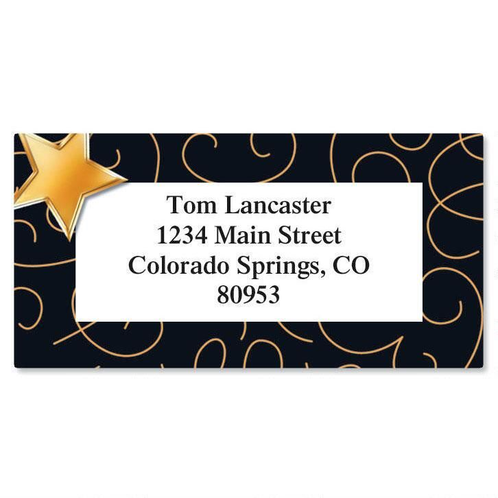 Bronze Star  Border Return Address Labels